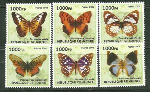 Guinea MNH Set Of 6 Butterflies 2002