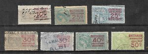 FRANCE FISCAL REVENUE TAX 7 OLD CLASSICAL STAMPS
