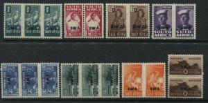 South West Africa 1942-45 1/2d to 1/ pairs mint o.g.