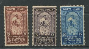 STAMP STATION PERTH Egypt #225-227 Cotton Congress Cairo Mint  1938