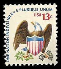PCBstamps  US #1596 13c Eagle & Shield, bullseye perfs., 1975, MNH, (9)