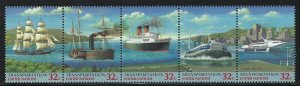 United Nations 1997 Ships strip/5 Sc# 713a NH