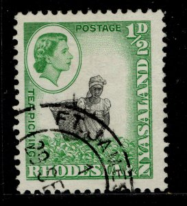RHODESIA & NYASALAND QEII SG18, ½d black & light emerald, FINE USED.
