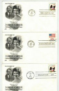 1977 PRESIDENT JIMMY + ROSALYNN CARTER SET OF 3 Diff Inauguration Day Cities