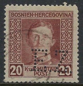BOSNIA Scott 111, 20 heller Complete Perfin Pattern A5-EZ: Eisenindustrie Zenica