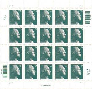 2003 23c George Washington, Gray Green, Sheet of 20 Scott 3819 Mint F/VF NH