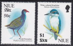 Niue # 676-677, Birds - Surcharged, NH, 1/3 Cat.