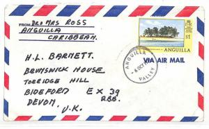 UU453 1978 Anguilla *VALLEY* CDS Commercial Airmail Cover GB {samwells-covers}
