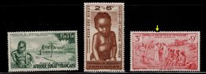 French Equatorial Africa  AEF Scott CB2-CB4 MH*  one faulty note arroy