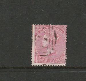 GB, QV 1855/7 4d Rose, Lightly used SG 66a, Good Perfs