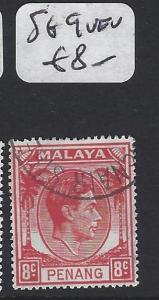 MALAYA PENANG  (P1705B)  8C  KGVI  SG9   RED    VFU