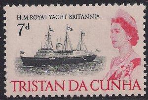 Tristan Da Cunha 1965 - 67 QE2 7d Royal Yacht Brittania MM SG 78 ( J714 )