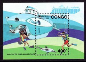 Congo Peoples Republic 1026 Submarine Souvenir Sheet MNH VF