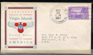 802 US Virgin Islands Linprint Cachet Washington cancel SDC