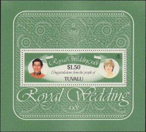 Tuvalu #163, Complete Set, Souvenir Sheet, 1981, Royalty, Never Hinged
