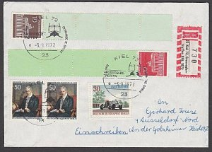 GERMANY 1984 Registered cover - great franking - coil strips................B447