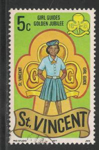 St. Vincent #504 VF USED 1977 - 5c Girl Guide Scout