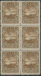 CHINA Famine relief 1c block of 6 mint.....................................45110