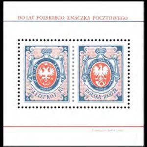 POLAND 1990 - Scott# 2967 S/S Stamp 130th. NH toned