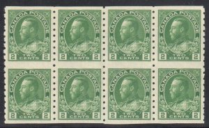 CANADA #128a MINT XF NH BLOCK OF 8 C$240.00 - Admiral DRY Printing
