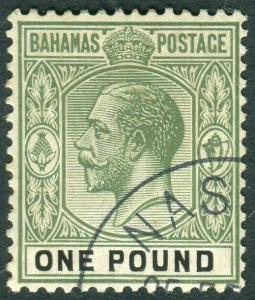 BAHAMAS-1926 £1 Green & Black.  A very fine used example Sg 125