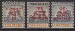 Barbados 1907 SC B1, B1b, B1e Mint Varieties