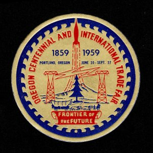 REKLAMEMARKE POSTER STAMP OREGON CENTENNIAL AND INTERNATIONAL TRADE FAIR 1959