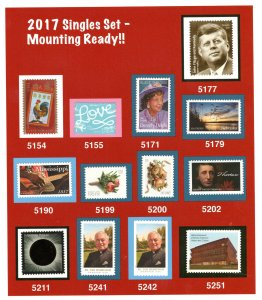 2017  Comemorative SINGLES (READY TO MOUNT) MNH-VERY FINE TO EXTRA FINE