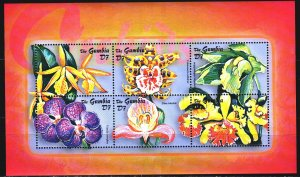 Gambia. 2003. Small sheet 5068-73. Orchids, flowers, flora. MNH.