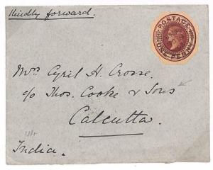 GB EMPIRE RATE QV Stationery Cut-Out Maritime Cover THOS COOK India 1905 C11