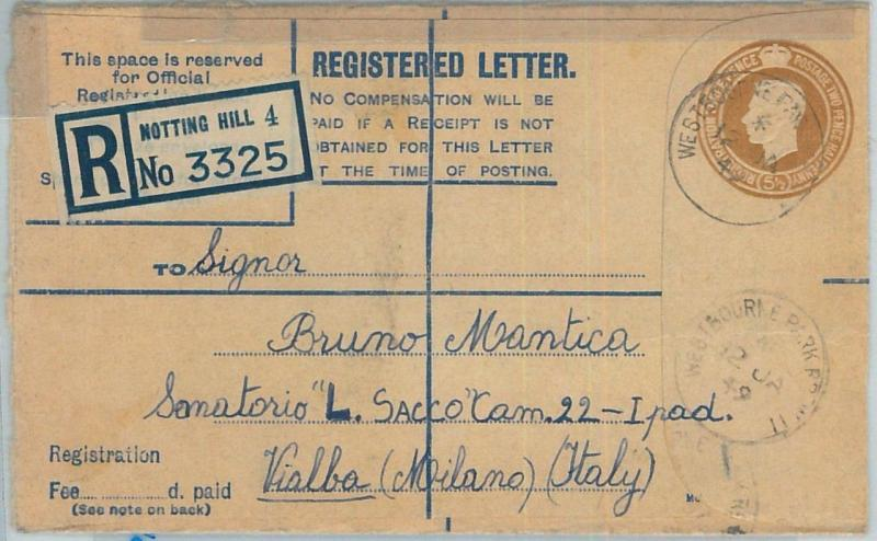 66793 - GB - Postal History - Registered POSTAL STATIONERY COVER to ITALY 1949