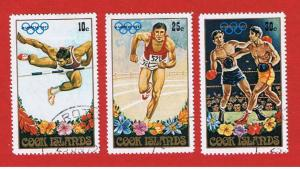 Cook Island #327-329 VF used  Olympics  Free S/H
