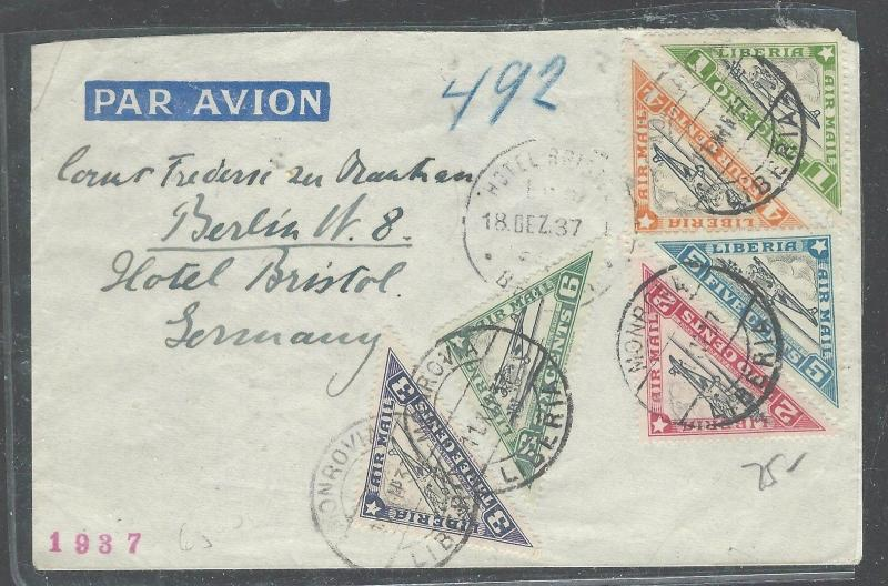 LIBERIA  (P2408B) 1937 A/M TRIANGLE STAMPS TO GERMANY