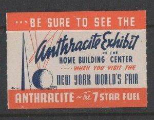 USA - 1939 New York World's Fair Anthracite Exhibit Home Building Center MH OG