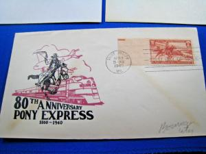 U.S. FIRST DAY COVER SETS - LOT of 4 -1940 & 1960 - PONY EXPRESS     (FDC-1x)