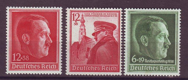 J25382 JLstamps 3 dif 1938-9 nazi germany sets of 1 mh #b118,b120,b137 hitler