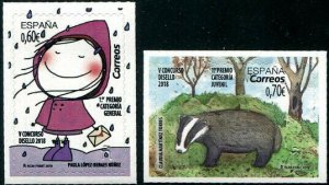 HERRICKSTAMP NEW ISSUES SPAIN Sc.# 4338-39 Stamp Design Competition Self-Adh.
