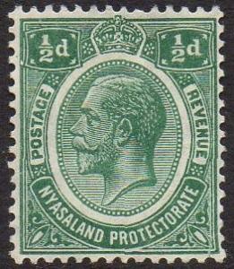 Nyasaland 1918 ½d blue-green MH