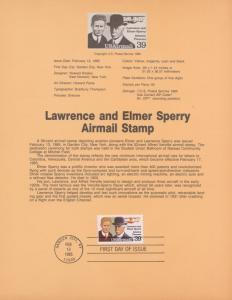 REDUCED!! 1985 LAWRENCE & ELMER SPERRY AIRMAIL FDC SOUVENIR PAGE