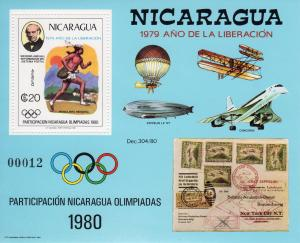 Nicaragua 1980 Mi#Bl.111 CONCORDE/ZEPPELIN/OLYMPIC/R.HILL S/S PERFORATED MNH