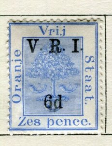 ORANGE FREE STATE; 1900 early QV V.R.I. Optd surcharged issue Mint 6d. value