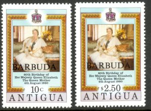 BARBUDA 1980 QUEEN MOTHER BIRTHDAY Set Sc 461-462 MNH