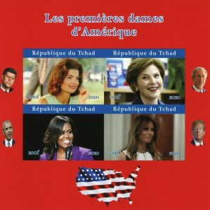 Chad US Presidents Stamps 2020 MNH 1st Ladies Melania Michelle Obama 4v IMPF M/S