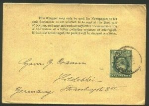 MONTSERRAT 1908 EVII ½d Leeward Is newspaper wrapper used to Germany.......94764