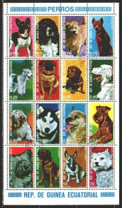Equatorial Guinea. 1977. Small sheet 1054-69. Dogs. USED.