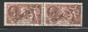Great Britain Sc 222 1934 2/6d G V & Seahorse George V stamp pair used