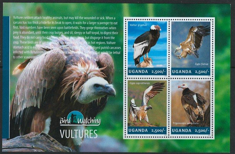 Uganda Scott 2116 MNH! Vultures! Sheet of 4!