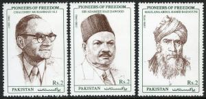 Pakistan 922-924, MNH. Pioneers of Freedom, 1999
