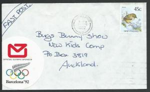 NEW ZEALAND 1992 cover NZ Post OLYMPIC GAMES cinderella....................56329