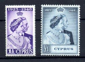 Cyprus 1948 KGVI Silver Jubilee MNH set #166-167 WS20907